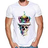 MRULIC Herren Fashion T-Shirt Einfaches Shirt Sommer Skull Pattern Weiß Tops(C-Weiß,EU-50/CN-3XL)