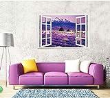 3Dadesivo Muraleadesivo Da Parete Rimovibile 3D Fai Da Te Staccabile Color Lavanda Fiore Mare Finto Paesaggio Adesivi Murali 90 * 60Cm