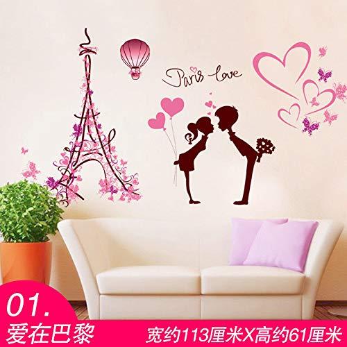 MEIWALL Chevet Chaud 3D Love In Paris Stickers muraux amovibles pour enfants chambre d'enfant chambre salon cuisine enfants chambre mur art décor autocollant