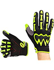 OutdoorMaster Guantes de ciclismo compatibles con pantalla táctil touchscreen con dibujo de esqueleto (O de dedos completos, Amarillo/Verde, M)