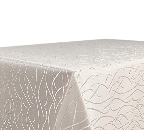 Tischdecke Damast Streifen Wellen Bügelfrei, Eckig Oval Rund Größe und Farbe wählbar, Eckig 130x160 cm Creme, Beautex Stoff-tischdecken