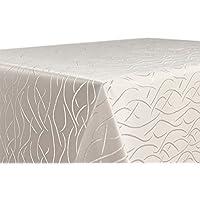 Tischdecke Damast Streifen Wellen Bügelfrei, Eckig Oval Rund Größe und Farbe wählbar, Eckig 130x260 cm Creme, Beautex
