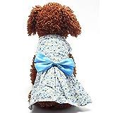 Generic Pet Dog Dress Skirt Cat Bow Princess Clothes Apparel Female Costume Blue S