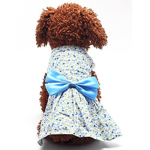 Generic Pet Dog Dress Skirt Cat Bow Princess Clothes Apparel Female Costume Blue XL