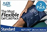 FlexiKold Poche de Glace Réutilisable Paquet de 2   Compresse de Gel Froid   Douleur, Récupération & Thérapie par le Froid   Flexible-Adaptable pour toute Partie du Corps: Grande Taille Standard