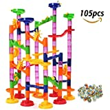 Lydaz Marble Run Set STEM Toys 105 Pieces Include 30 Glass Marbles For Over 3 Years Old Kids