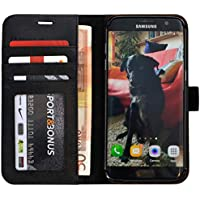0faae911cd7f Abacus24-7 Coque Galaxy S7 Edge, Etui à Rabat en Cuir, Housse de