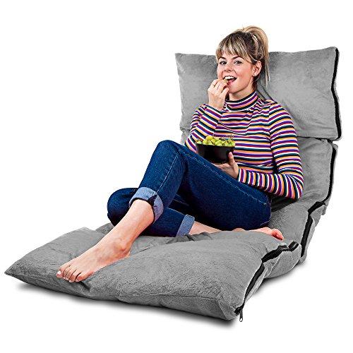 Faltbares Bodenkissen in Grau mit Memory Schaumstoff Füllung und Premium Velour Bezug - Super Weiches Sitzkissen Stützkissen Lesekissen - Faltmatratze Bett Futon