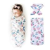 Velidy Baby-Schlafsäcke mit Stirnband 100% kuschelweicher Baumwolle | Babyschlafsack Kinder-Schlafsack, Baby-Decke, Baby-Fußsack, Swaddle, Puck-Sack (Schlafsäcke + Stirnband (Blumen))