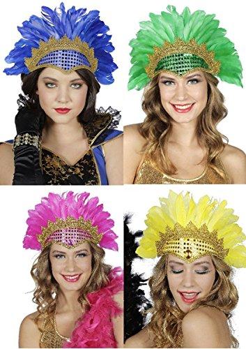 Kostüm Zubehör Feder Kopfschmuck Samba mit Pailletten Karneval gelb