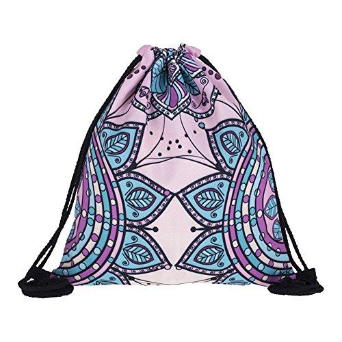 Haodou Bohemia Mandala Patrón Moda Cordón para Las Niñas Casual Cadena Mochila Niñas Poliéster Playa Cinch Sack