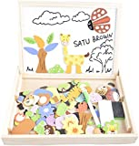 100 Pieces Wooden Kids Toy Magnetic Board Puzzle Games, Satu Brown Multi-functional Double Side Jigsaw &Drawing Sketchpad Writing Chalkboard Educational Toys (Animal)