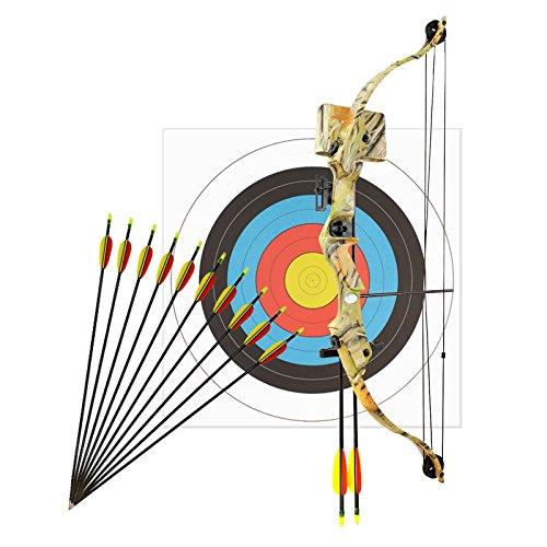 Bogenset Komplettset Man Kung Compoundbogen Hawk® Autumn Camo 79 cm / 17-23 lbs RH + 12 Pfeile + 1 Zielscheibe 60 cm