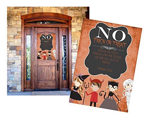 Trick or Treat ~ Please Do Not Knock on The Door Out of Treats Halloween Candy Dekoration Poster-Banner ()