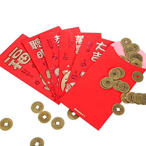 b4d7376ddb Boao 200 Pezzi Monete Cinesi di Feng Shui I-Ching Moneta Fortuna Moneta per  Porta Salute e Ricchezza, 2 Taglia