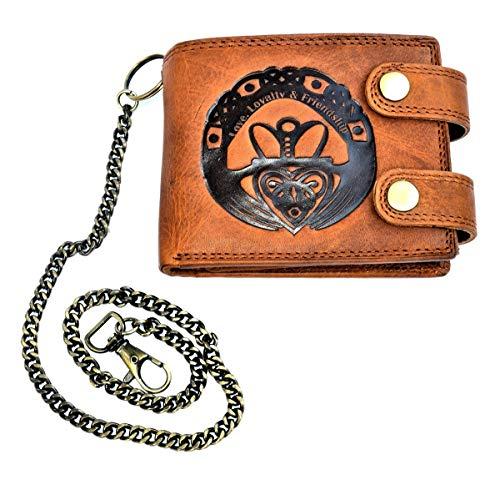 flevado Voll Leder Geldbörse mit RFID Schutz und Prägung Liebe -Loyalität- Freunschaft irisches Glückszeichen -