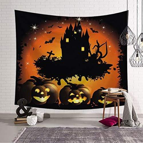 ZYJCC Wandteppiche Unheimlich Halloween Kürbis Kopf Trick Horror Ghost Party hängen zu Hause Wanddekoration Zubehör Decke Tischdecke