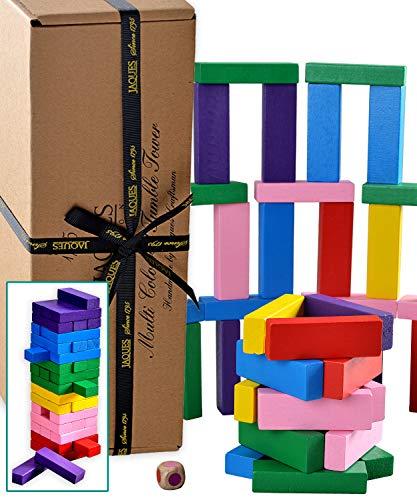 Jaques de Londres Tumble Tower - Multi Purpose 3 en 1 - Jeu de Famille / Construction Blocks / Multicolore Tour de la dégringolade - Qualité Jaques Building Jeu Un Jeu de Blocs Depuis 1795