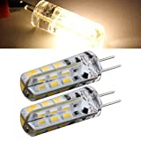 Sonline 2 x Birnen-Lampe G4 24 SMD 3014 LED-Licht Warmweiss 1.5W 12V DC