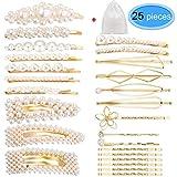 EAONE Lot de 25 barrettes à cheveux en perles artificielles pour femme et fille Doré
