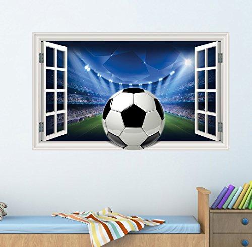 Bumblebee ff-0, 1adesivo decorativo da parete, motivo stadio con palla da calcio, per bambini e ragazzi, per cameretta e soggiorno, disegno in stile cartone animato, grandi dimensioni: 55x 100 cm