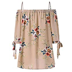 Large Size Spaghetti Strap Tops Kanpola Fashion Casual Womens Plus Size Floral Printed Cold Shoulder Cami Blouse from Kanpola
