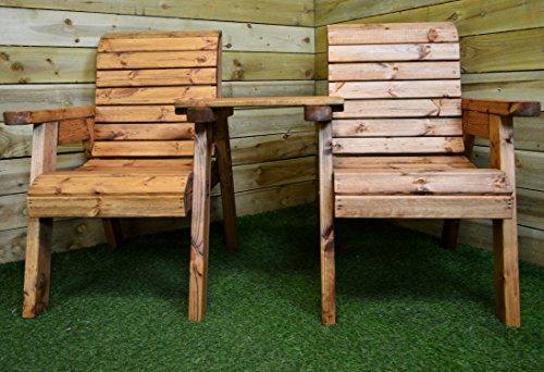 Samuel ALEXANDER Hand Made 2 Seater Chunky Rustic Wooden Garden Furniture Companion/Love Seat