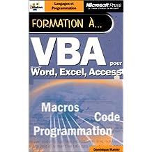 Formation à VBA pour Microsoft Word, Excel, Access