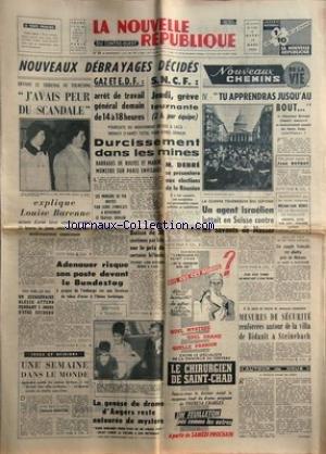 NOUVELLE REPUBLIQUE (LA) [No 5629] du 19/03/1963 -...