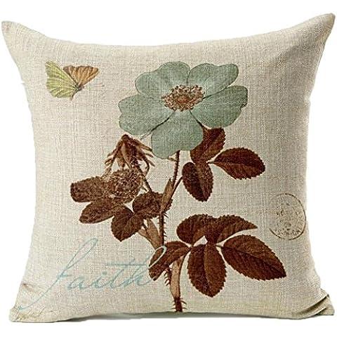 JXLOULAN loto caso fiori foglia Farfalla cotone modello di tela cuscino casa piazza copertura del cuscino divano a due decorativo 18x18 pollici - Hippy Cane