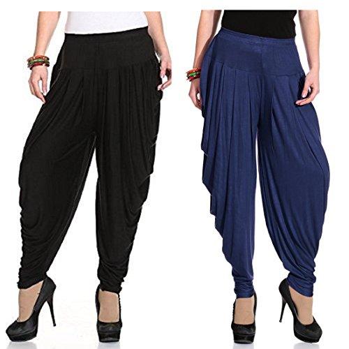 JULEE Women's Lycra Fabric Patiala Dhoti Combo Pack 2 Pcs (Free Size_Black,NevyBlue)