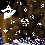 Fensteraufkleber 50 Stk. Schneeflocken und Punkte - WIEDERVERWENDBAR – 50 Aufkleber im Set in der Farbe WEIß / konturgeschnitten / Fensterbild Wintermotiv / Adventsdekoration