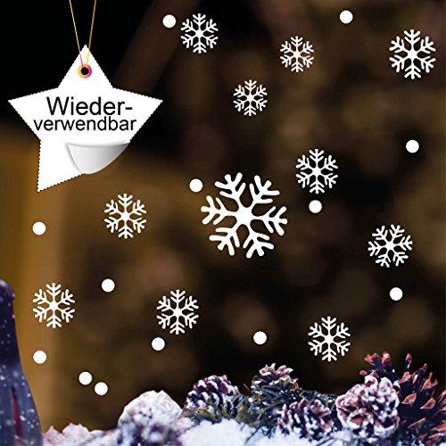 """Fensteraufkleber: """"Schneeflocken und Punkte"""" - WIEDERVERWENDBAR – 50 Aufkleber im Set in der Farbe WEIß / konturgeschnitten / Fensterbild Wintermotiv / Adventsdekoration"""