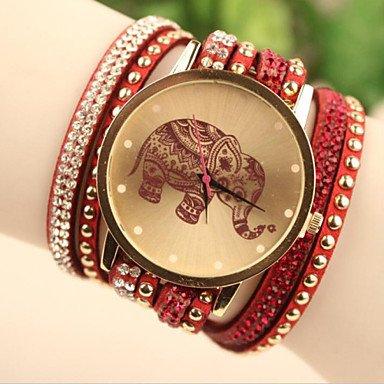 XKC-watches Relojes de Mujer, Reloj del Estilo de Corea del Elefante al Sur de Las Mujeres de la Moda (Color : Rojo, Talla : para Mujer-Una Talla)
