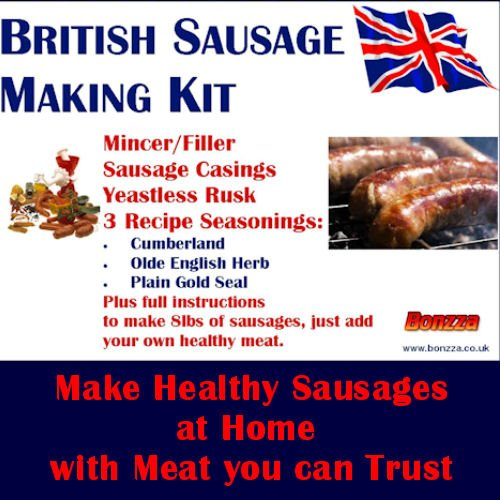 bonzza-british-sausage-making-kit-with-meat-mincer-grinder-stuffer-sausage-skins-seasonings-yeastles