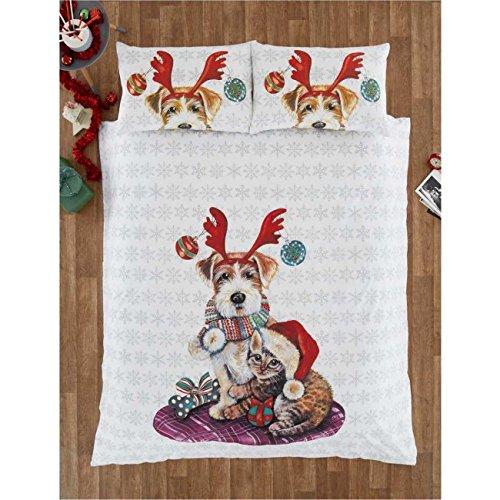 Eleanor james ivyandsnowy christmas cane e gatto trapunta copripiumino e 2federa set di biancheria da letto, doppio