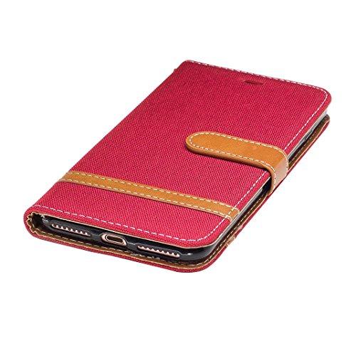 iPhone 7 Plus Hülle Leder, iPhone 7 Plus Case, Rosa Schleife Premium Geldbörse Ledertasche Niedlich Bowknot Brieftasche Handyhülle Etui Kartenfach Schutzhülle Flip Wallet Cover mit Gold Perle Metallke 1 - Rot