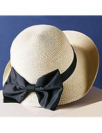 Cappello - Cappello di Paglia Donna Summer Bow Decoration Cupola Visiera  Parasole Casual Curly Side Cappello 7409d2a6a32f