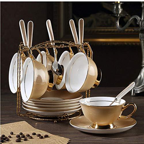 mytxfh Kaffeetassen Gold Bone China Kaffeeservice Britisches Porzellan Teeservice Keramiktopf...