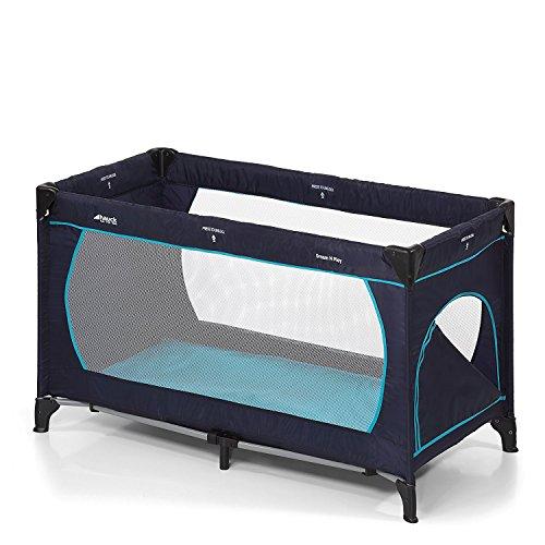 Hauck Kindereisebett Dream N Play Plus inklusive Matratze, seitlichem Reißverschluss, und Transporttasche, ab Geburt, tragbar, faltbar und klappbar, blau (navy aqua) 120 x 60 cm