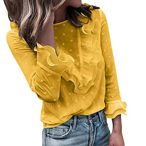 VJGOAL Moda Mujer Casual Encaje Sexy Lunares O Cuello Dulce Volante Camiseta Manga Larga Tops Blusa (L, X-Amarillo)