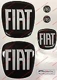 """""""Fiat 500""""-Embleme fürMotorhaube, Heckklappe und Lenkrad + 2Sticker für Schlüsselanhänger. - Harzbeschichtete Aufkleber mit 3D-Effekt. Farbe: Schwarz-Weiß."""