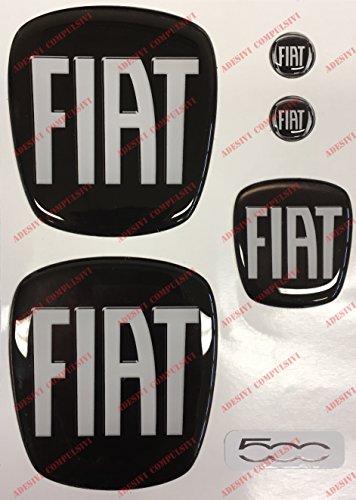Logo Fiat 500avant, arrière + Volant + 2blason pour porte-clés. Pour Capot et coffre. Autocollants, Résine Effet 3d. Sculptures couleur nero-bianco
