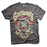 Gas Monkey Garage Camiseta con Licencia Oficial, relámpagos y bujías - Gris -...
