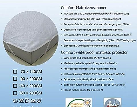 Protège matelas 160x200 cm Imperméable Anti-Acarien Anti-Bactérien certifié OEKO-TEX 100 Housse de Matelas
