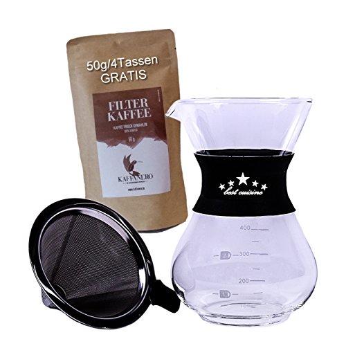 """""""fumiXtrade"""" Kaffeezubereiter mit Edelstahl Dauerfilter 415ml – Brühen Sie Kaffee ohne Papierfilter – Erhalten Sie die Aromen und Öle der Kaffeebohne – Genießen Sie vollmundigen Filterkaffee"""