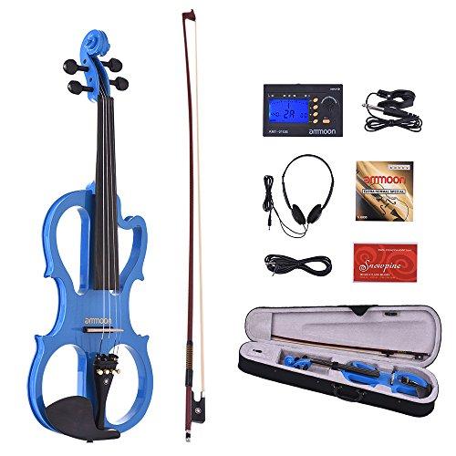 ammoon Violín Eléctrico VE-201 Tamaño Completo 4/4 Madera Maciza Silencioso Fiddle Maple...