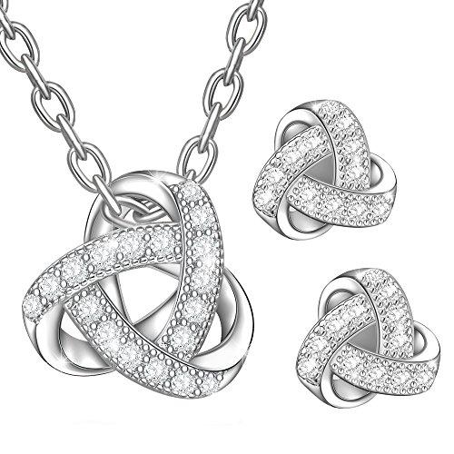 Dawanza-Bijoux Parure Femme Cristal en Plaqué Or-Triangle Sculpté-Collier Fantaisie et Boucles d'oreilles Clous