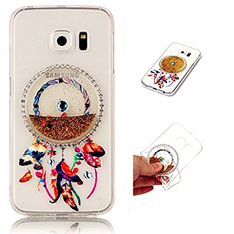 Samsung Galaxy S6 Edge Case Cover MUTOUREN TPU Silicone Anti-scratch Rear Case Mobile phone protective cover Liquid Cover Stylish 3D Creative Red Dreamcatcher Design Quicksand Glitter Clear Crystal Gel Rubber Bumper Protective shockproof non-slip shell-quicksand dreamcatcher