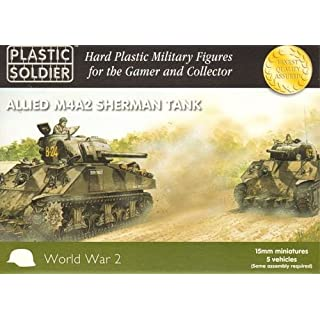 Plastic Soldier 15mm Allied M4A2 Sherman Tanks x5